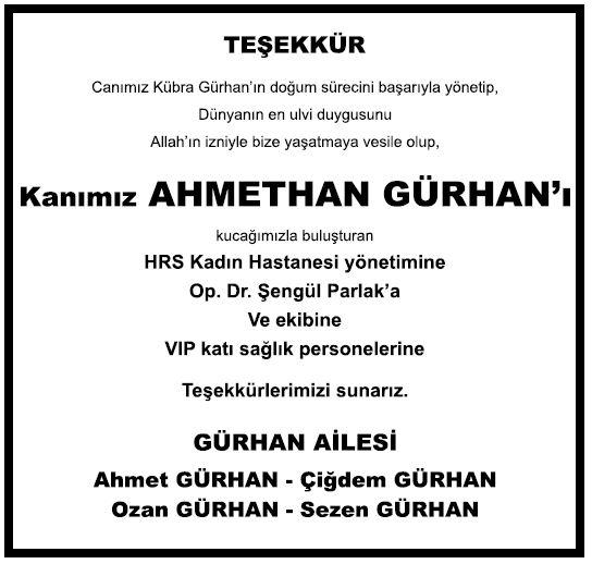 ahmethan gürhan doğum ilanı