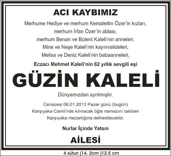 Güzin kaleli Hürriyet vefat ilanı
