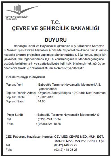 ced raporu gazete ilanı