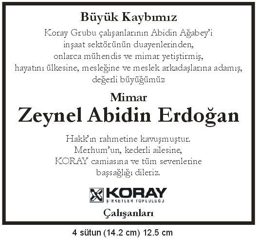 zeynel abidin erdoğan vefat başsağlığı ilanı