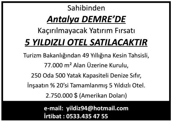 Antalya demre otel ilan
