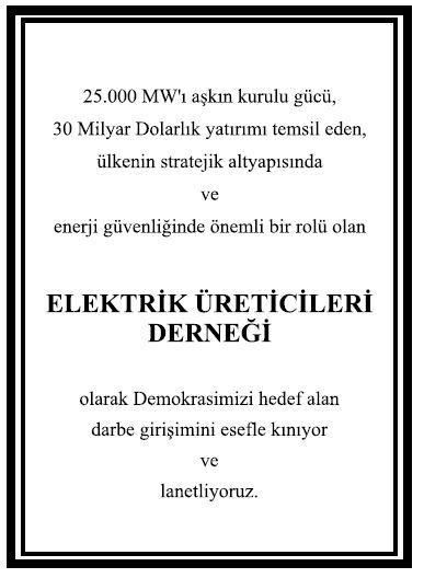 elektrik üreticileri derneği kınama ilanı